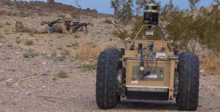 U.S. Marines run through Squad X scenarios in Twentynine Palms, California.