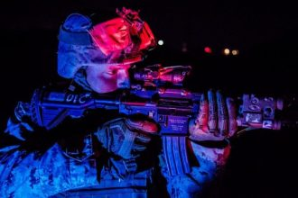 U.S. Marine Corps Lance Cpl. Eliott Wright, an infantry rifleman with 1st Battalion, 25th Marine Regiment, 4th Marine Division, poses for a photo during Integrated Training Exercise 5-19 at Marine Corps Air Ground Combat Center Twentynine Palms, Calif., Aug. 13, 2019. Reserve Marines with 1/25 are training at ITX in preparation to replace 2nd Battalion, 23rd Marine Regiment in their deployment in the Pacific region. (U.S. Marine Corps photo by Lance Cpl. Jose Gonzalez)