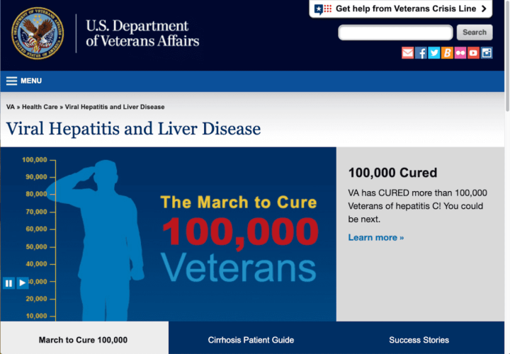 Screenshot of Veterans Affairs' Viral Hepatitis and Liver Disease webpage.