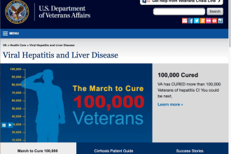 Screenshot of Veterans Affairs' Viral Hepatitis and Liver Disease webpage.