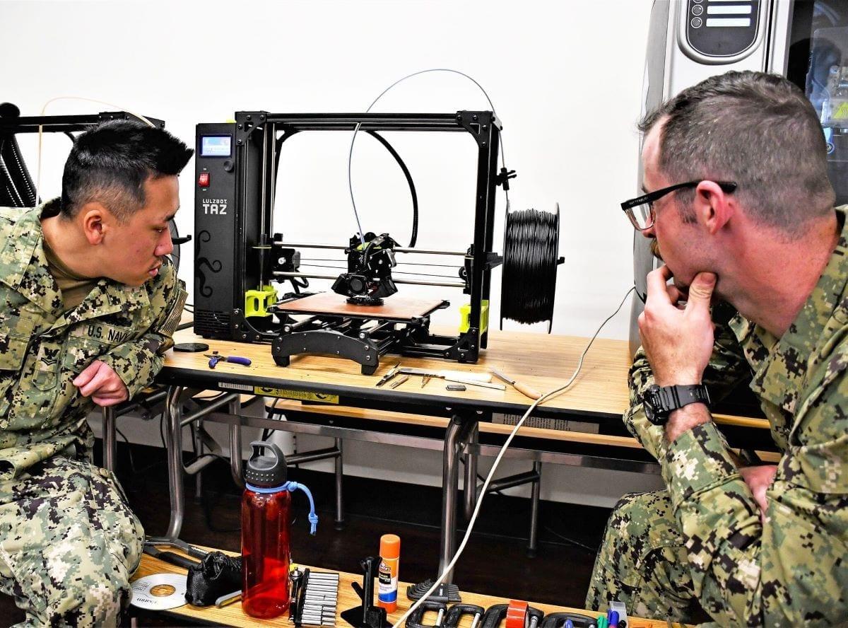 US Navy 3d-printing 3d printer navy sailors using additive manufacturing parts supplier logistics department of defense