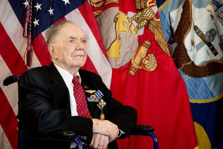 WASHINGTON (Sept. 10, 2019) Secretary of the Navy (SECNAV) Richard V. Spencer awards retired Aviation Machinist's Mate 1st Class Bernard B. Bartusiak, 95, with two Distinguished Flying Cross medals and the Air Medal (Strike/Flight), 2nd-8th awards, for meritorious service during World War II involving aerial flight from April 20, 1943 to August 26, 1944. (U.S. Navy photo by Mass Communication Specialist 1st Class Paul L. Archer/Released)