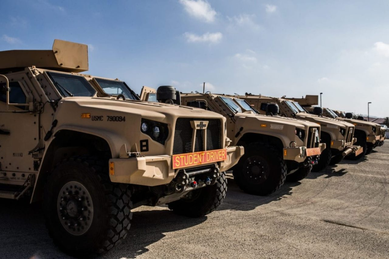 Joint Light Tactical Vehicles are staged prior to the I Marine Expeditionary Force JLTV Operator New Equipment Training course in 13 Area on Marine Corps Base Camp Pendleton, California, Oct. 17, 2019. U.S. Marine Corps photo by Lance Cpl. Alison Dostie/Released