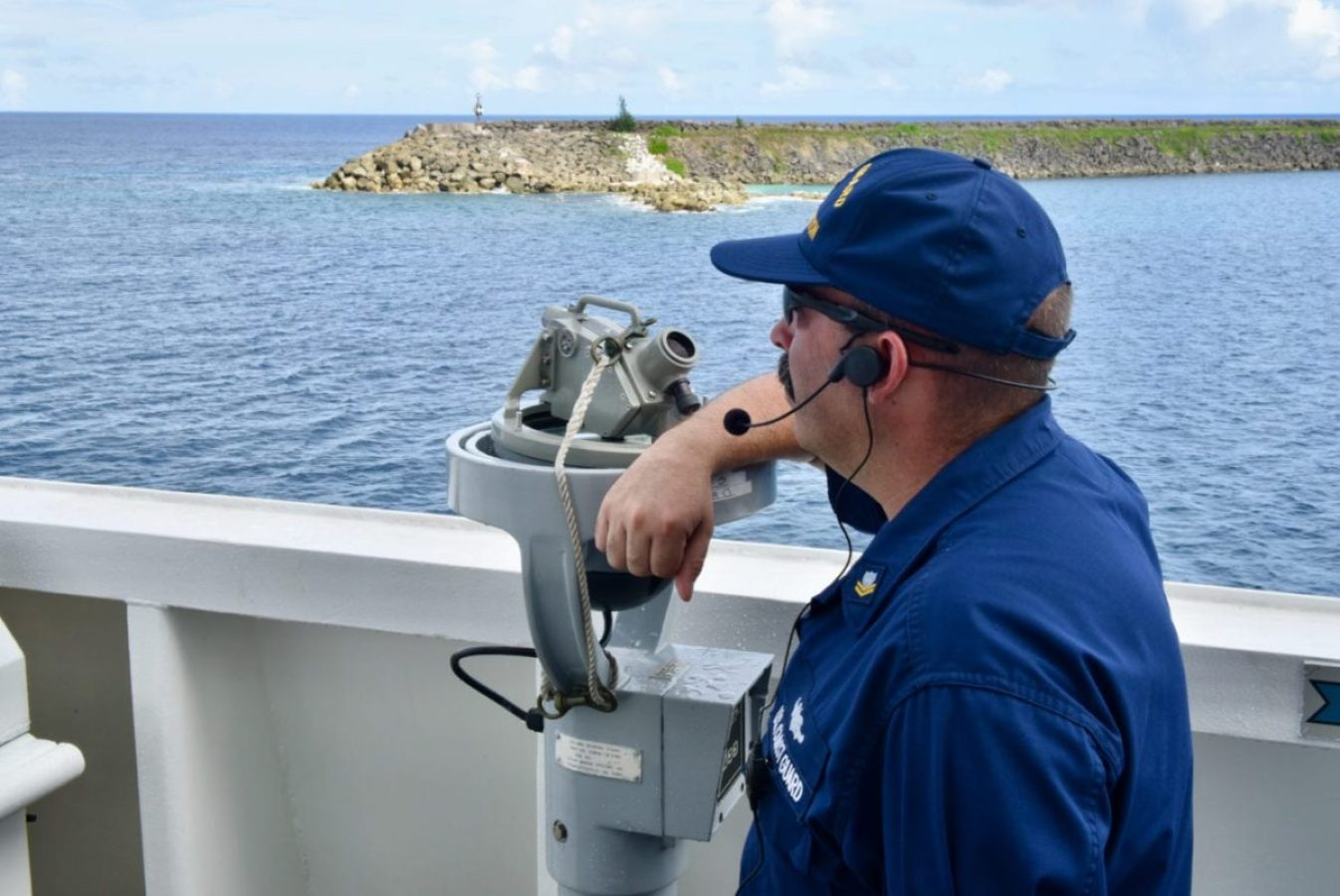 Petty Officer 2nd Class Josh Birkner, an operations specialist aboard USCGC Stratton, waits to take a navigational fix as the cutter departs Guam, Oct. 30, 2019. The cutter's crew spent half of 2019 underway in support of joint operations in the Pacific. (U.S. Coast Guard photo by Chief Petty Officer Sara Muir/Released)