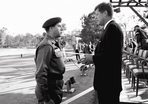 President John F. Kennedy visits with Brig. Gen. William P. Yarborough during a visit to Fort Bragg, North Carolina on October 12, 1961. The meeting began a relationship that would transform the Department of Defense and set in montion the president's vision of a force dedicated to counterinsurgency and unconventional warefare. (Courtesy of JFK Library Archives) (Photo Credit: U.S. Army)