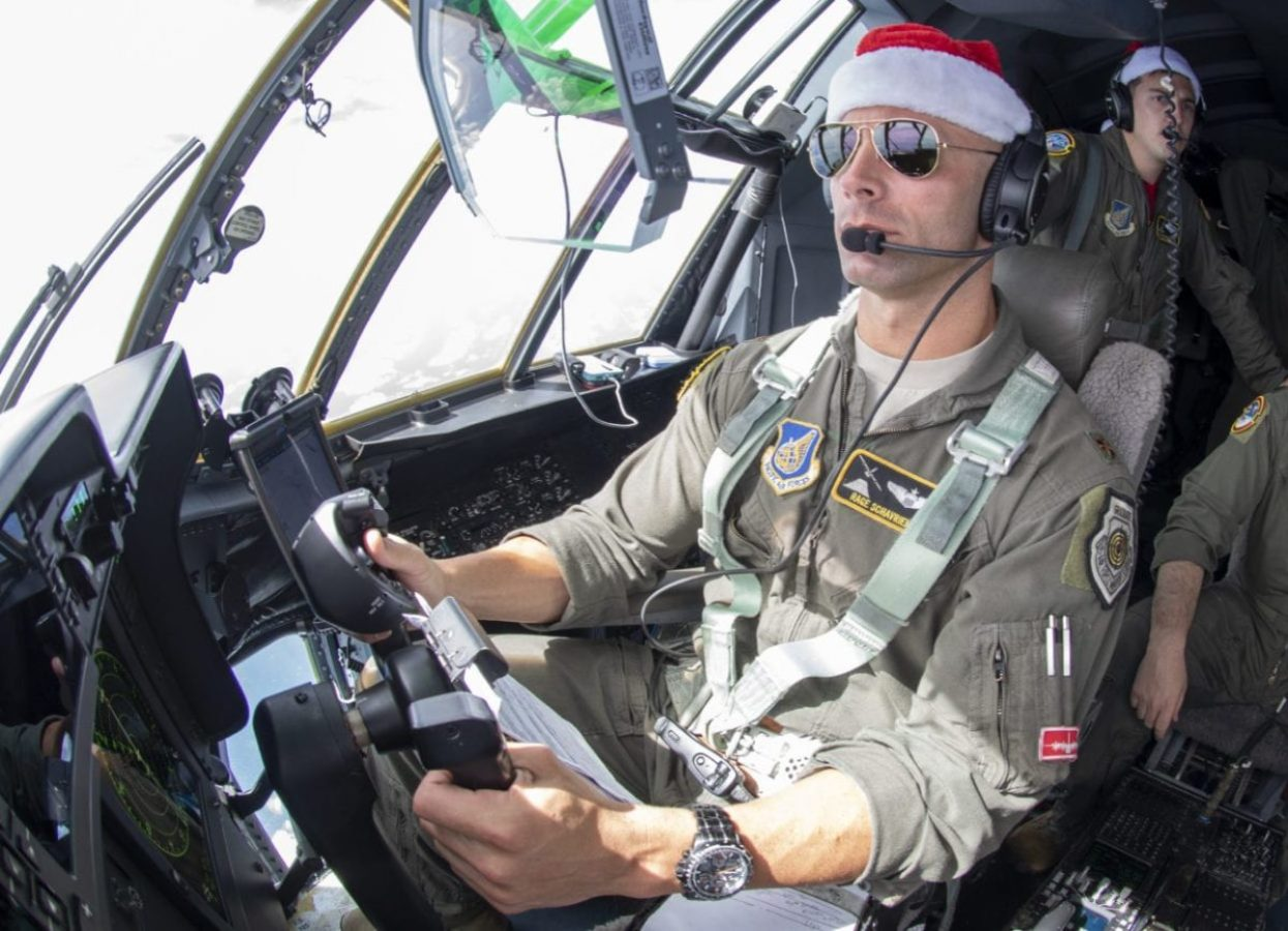 Maj. Scott Scharien, 36th Airlift Squadron pilot and aircraft commander of Santa 63, pilots a C-130J Super Hurcules of Fananu island in the Federated States of Micronesia during Operation Christmas Drop 2019, Dec 13, 2019. (U.S. Air Force photo by Senior Airman Matthew Gilmore)
