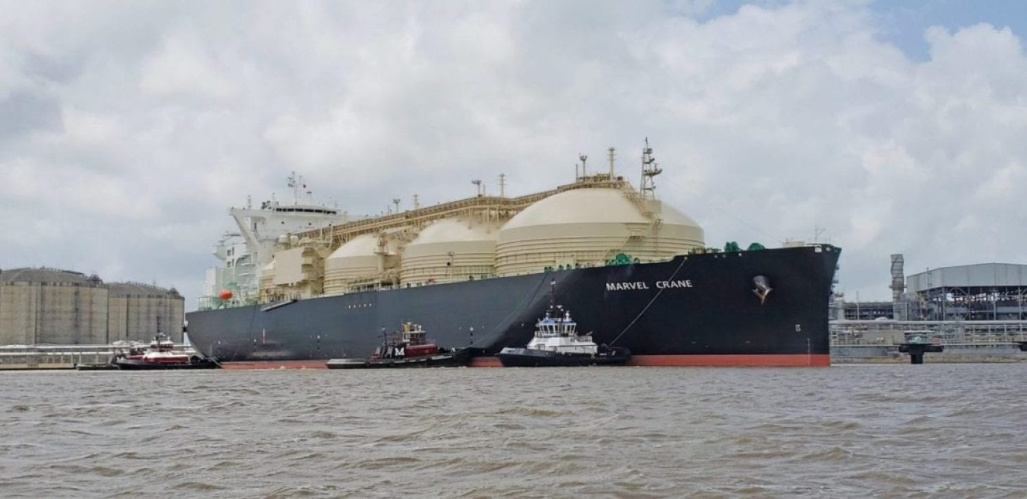The Marvel Crane, the first liquefied natural gas (LNG) carrier to transport natural gas from the Southwest Louisiana LNG facility, transits a channel in Hackberry, Louisiana, May 28, 2019. The ship both transports and is powered by LNG.