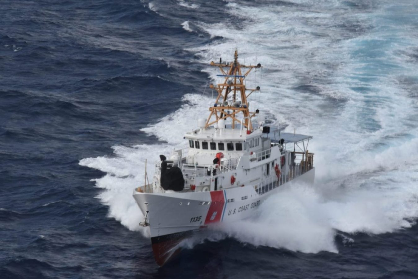 The newly commissioned Coast Guard Fast Response Cutter Angela McShan (WPC-1135) underway near Miami, Florida, Sept. 20, 2019.