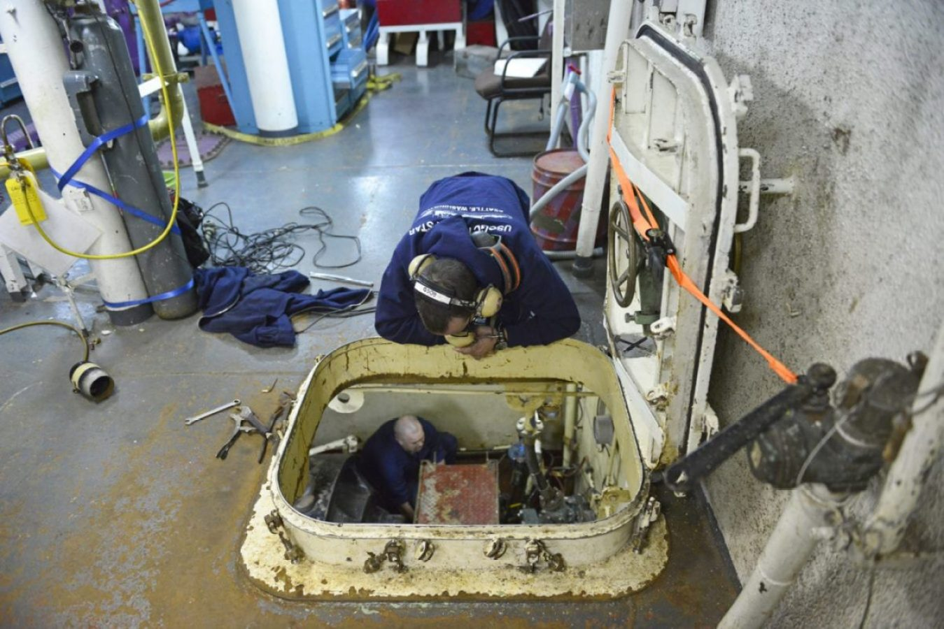 Engineers abroad the Coast Guard Cutter Polar Star replace a shaft seal while in the Ross Sea near Antarctica on Jan 16, 2018. The crew of the Seattle based Polar Star was on deployment to Antarctica in support of Operation Deep Freeze 2018, the U.S. military's contribution to the National Science Foundation managed U.S. Antarctic Program.