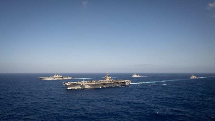 The aircraft carrier USS Theodore Roosevelt (CVN 71), the amphibious assault ship USS America (LHA 6), guided-missile cruiser USS Bunker Hill (CG 52), and the amphibious dock landing ship USS Germantown (LSD 42) transit the Pacific. (U.S. Navy photo by Mass Communication Specialist 2nd Class Anthony J. Rivera)