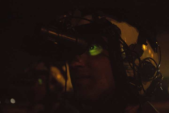 U.S. Marines with the Aviation Combat Element, Marine Rotational Force – Darwin, conduct practical application to compare green and white phosphor night vision goggles at RAAF Base Darwin, Australia, June 18, 2019. White phosphor goggles will replace the traditional green phosphor goggles for improved night vision capabilities during MRF-D aviation operations. (U.S. Marine Corps photo by Lance Cpl. Kealii De Los Santos)