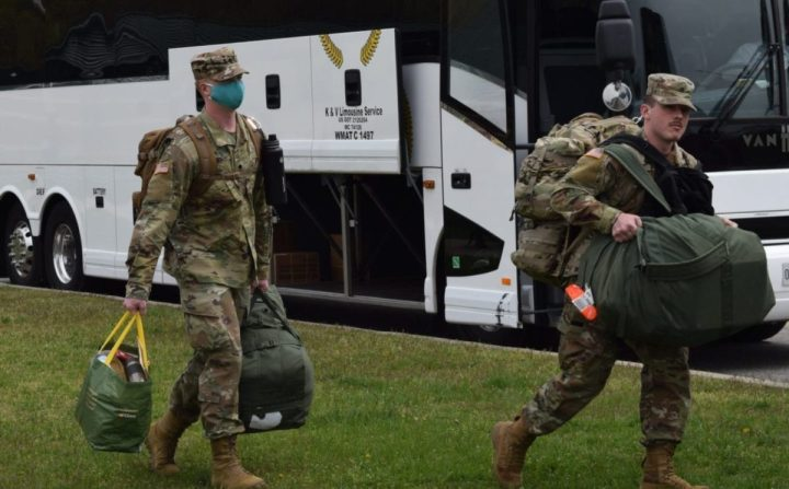 Army Spc. Tyler Bills of Task Force 338-1 mobilizes from the John E. Smathers Army Reserve Center, Fort Meade, MD, April 7, 2020. TF 338-1 is an Urban Augmentation Medical Task Force and will combat the COVID-19 pandemic in New York. (Photo by Army Spc. William Roulett)
