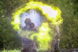 An example of the type of heavy weapons blast servicemembers endure when training, and the close proximity of their instructors. (U.S. Army image by Sgt. M. Austin Parker)