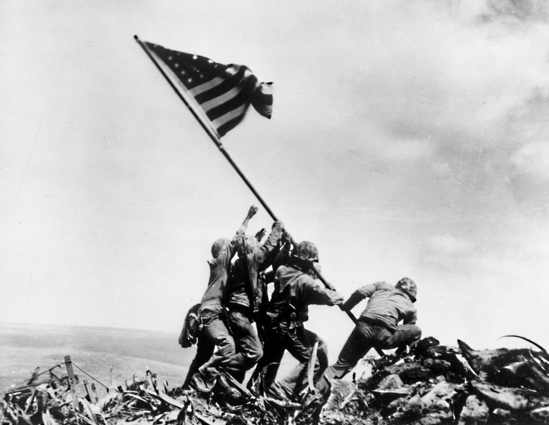 oe Rosenthal's photo of the second, but iconic, flagraising on Mt. Suribachi. The six Marines who raised the second flag have been identified as, left to right: Ira Hayes, Harold Schultz, Michael Strank, Franklin Sousley, Harold Keller, and Harlon Block. AP PHOTO BY JOE ROSENTHAL
