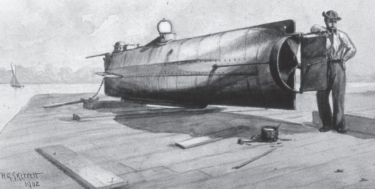 Sepia wash by R.G. Skerrett of the Confederate submarine H.L. Hunley, which carried out the first successful attack on a warship but was herself sunk in the process.