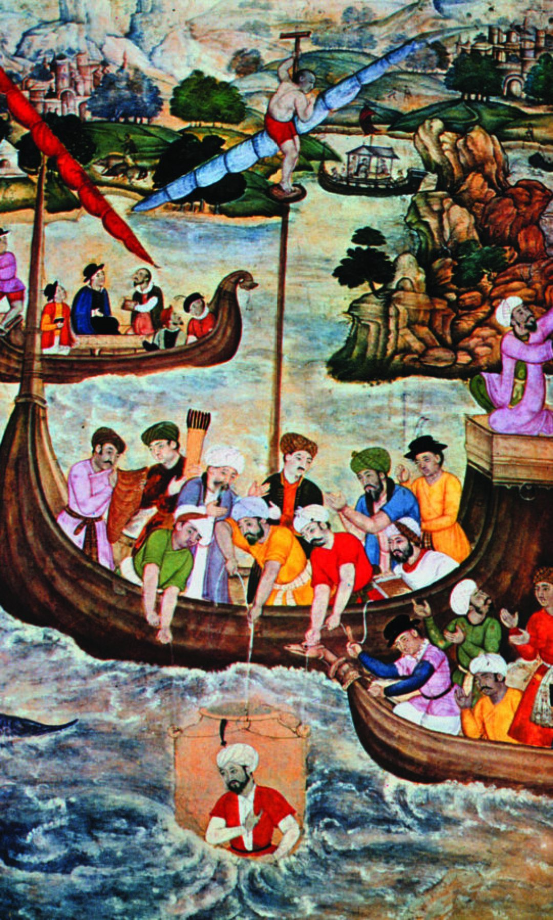 A 16th century painting of Alexander the Great being lowered into the harbor in a kind of glass diving bell.