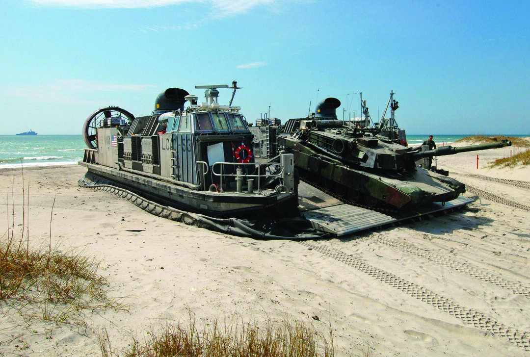 Marine Corps M1A1 Abrams main battle tank is unloaded from a Landing Craft Air Cushion