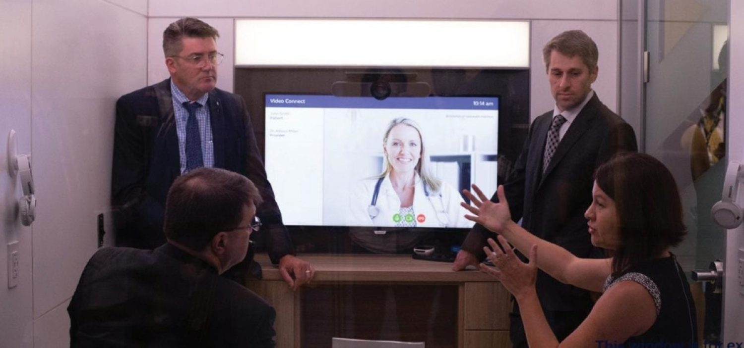 Philips provided a demonstration of its Project ATLAS Remote Telehealth exam rooms to VA Secretary Robert Wilkie, Dr. Leonie Heyworth, and Dr. Kevin Galpin during the Veterans of Foreign Wars (VFW) 120th National Convention, on July 23, 2019. The ATLAS initiative is improving access to quality health care by providing remote VA Telehealth exam rooms for veterans who live in rural areas.