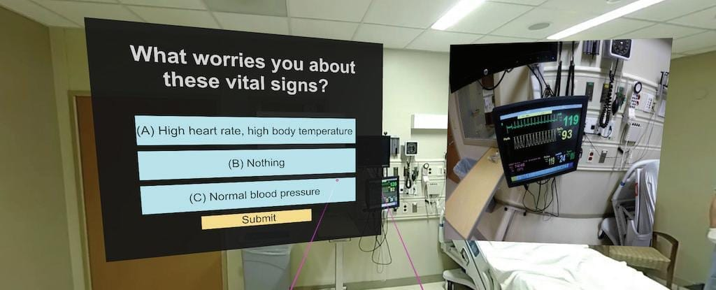 The sepsis IMR trainer displays questions about patient statistics to direct a student through determining if sepsis is present. The inset on the right is a zoomed-in reading of the patient's heart rate and body temperature readings.