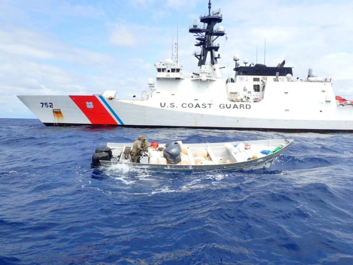 A Coast Guard Cutter Stratton (WMSL 752) boarding team searches a suspected smuggling vessel interdicted in international waters of the Eastern Pacific Ocean, May 31, 2020. The team seized more than 1,500 pounds of cocaine from the suspected smuggling vessel. (U.S. Coast Guard photo)