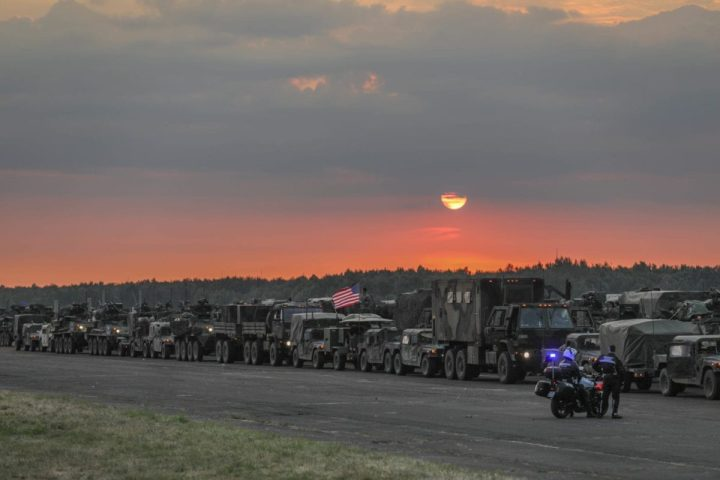 Strykers and military support vehicles belonging to the U.S. Army's 3rd Squadron, 2nd Cavalry Regiment stage for departure from Sochazcew, Poland, for their return to Germany, June 18, 2018.