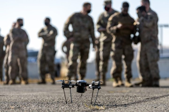 A Small Unmanned Aircraft System awaits to be launched during a demonstration July 17, 2020, on Travis Air Force Base, Calif. The 621st Contingency Response Wing command team was on hand to observe the first on-base demonstration of the system. (U.S. Air Force photo by Tech. Sgt. David W. Carbajal)