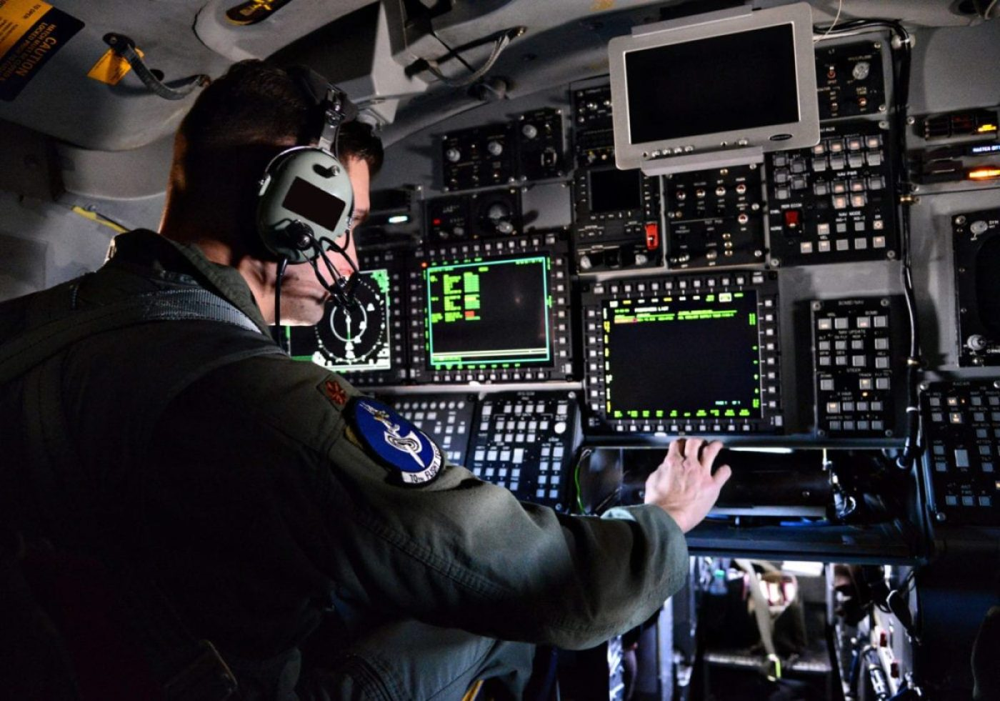 B-1B functional check flight pilot Maj. Michael Griffin, with the 10th Flight Test Squadron, Tinker Air Force Base, Okla., evaluates critical defensive and offensive aircraft systems, such as upgraded navigation procedures, radar systems and aircraft terrain, Dec. 15, 2015. An eight-year project to install the Integrated Battle Station on the B-1B Lancer fleet, which began in 2012, was completed in September 2020. (U.S. Air Force photo by Kelly White)