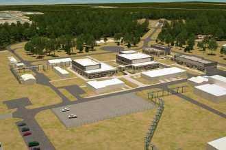 An artist's rendering of the overall site perspective of the Advanced Munitions Technology Complex at Eglin Air Force Base, Fla. The recent award of a $19 million contract is the second phase of the two-phased project in support of the Air Force Research Laboratory's high explosive research and development of nano-explosives and advanced energetics. (Courtesy graphic)