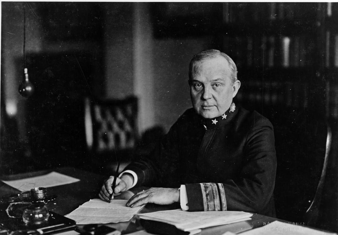 Rear Adm. William C. Braisted, Surgeon General of the U.S. Navy during the pandemic. He estimated that 40 percent of the Navy's personnel ultimately were infected with the Spanish flu.