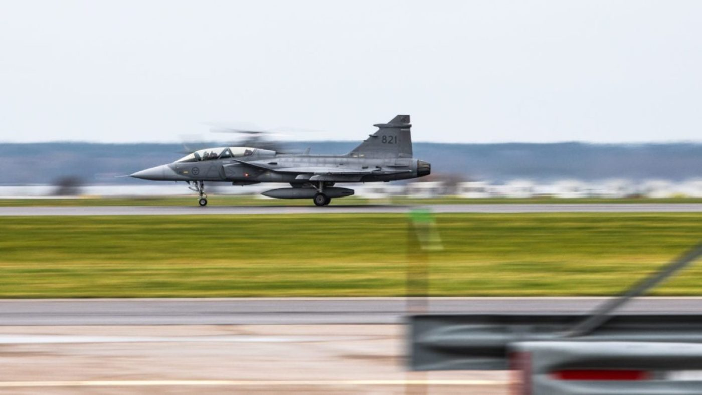 A Saab JAS 39 Gripen lands at Såtenäs Air Wing, Sweden, on 9 November 2020, to support a bilateral exercise of air, land, and sea capabilities in the Baltic Sea region. This exercise demonstrates the ability of the U.S. special operations forces, alongside our Swedish partner, to deploy and respond to a crisis in the region. (U.S Army photo by Sgt. Patrik Orcutt)