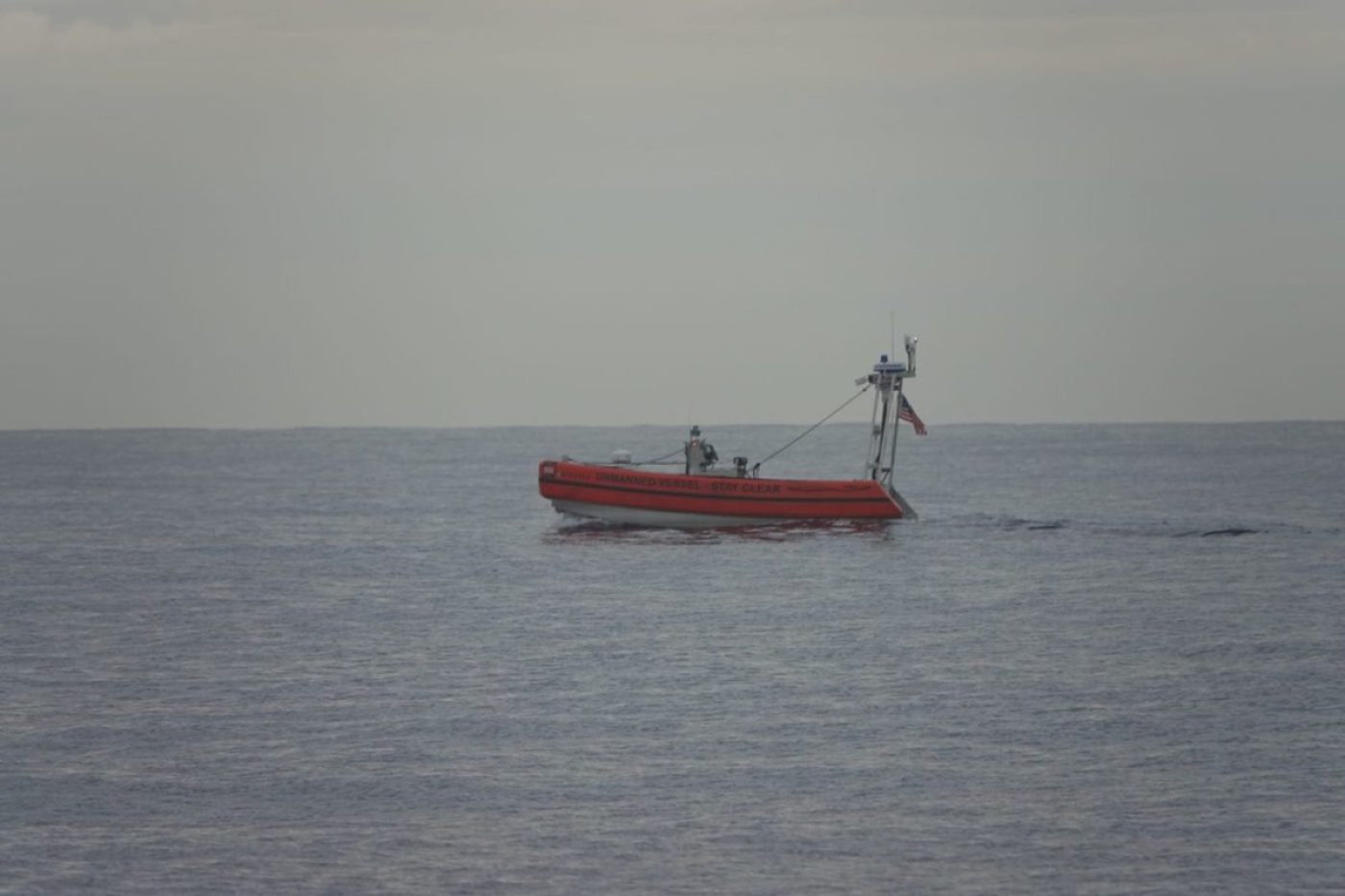 A Coast Guard prototype unmanned surface vehicle (USV) performs a test off Oahu, Hawaii, Oct. 27, 2020. The test showed ways USVs might support the Coast Guard's many missions around the globe ranging from search and rescue, to law enforcement. (U.S. Coast Guard photo courtesy of the Coast Guard Research and Development Center/Released)