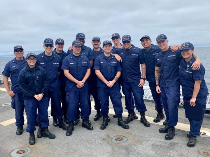 Officer Trainee Jesse Sceppe, second from right, participates in the college student pre-commissioning program program at the University of Hawaii, Nov. 29, 2020. Sceppe was a a former operations specialist in the Coast Guard and now participates in the program at the University of Hawaii. (U.S. Coast Guard photo courtesy of the Coast Guard 14th District/Released)