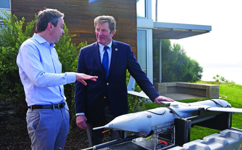 Technical Director of the Air-Sea Interaction Research Laboratory Luc Lenain speaks with Rep. John Garamendi (right) following a ribbon-cutting ceremony at Scripps Institution of Oceanography at the University of California San Diego, Jan. 24, 2020. The Coast Guard entered into an agreement with Scripps Institution of Oceanography to establish the Blue Technology Center of Expertise, which will provide opportunities for rapid identification and integration of new blue technologies into current Coast Guard capabilities. (Coast Guard photo by Petty Officer 1st Class Patrick Kelley)