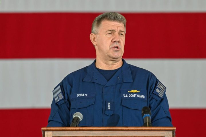 Adm. Karl Schultz, the commandant of the Coast Guard, speaks during the 2021 State of the Coast Guard Address in San Diego March 11, 2021. During the annual address, Schultz reflected on the organization's successes over the past year and outlined the shared vision for the future of the Coast Guard.(U.S. Coast Guard photo by Petty Officer 2nd Class Travis Magee/Released)