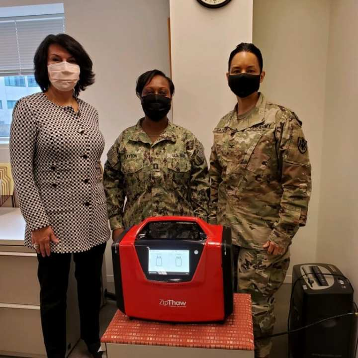 FreMon Scientific CEO and Chief Scientific Officer Dr. Farideh Bischoff with Col. Audra Taylor and Lt. Tamara Clayton. (Photo by Linda Fabian, FreMon Scientific Director of National Accounts)