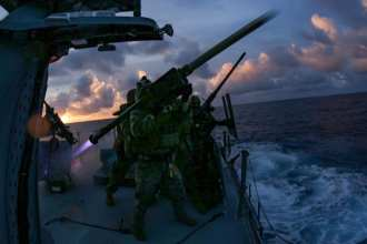 Marines with 2nd Low Altitude Air Defense Battalion, 31st Marine Expeditionary Unit (MEU), fire a FIM-92 stinger missile from a Mark VI patrol boat during a live fire exercise in the Philippine Sea, Feb. 27, 2021. (U.S. Marine Corps photo by Lance Cpl. Brienna Tuck)