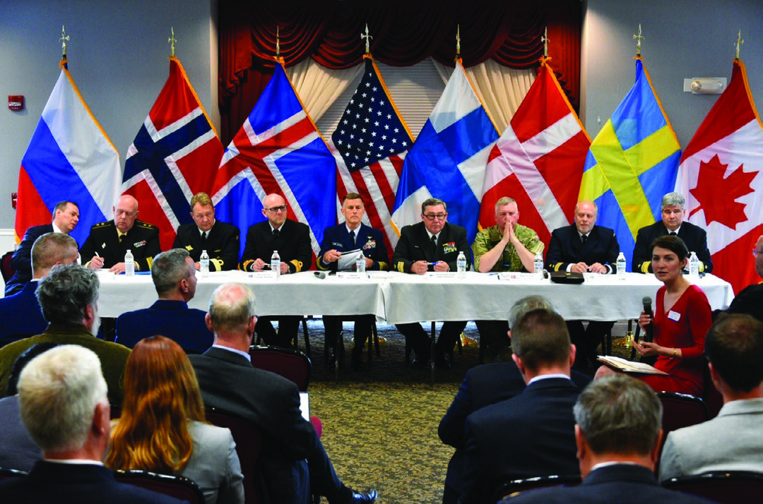 The heads of the eight Arctic nations' coast guards take part in the Arctic Coast Guard Forum Academic Roundtable at Coast Guard Base Boston, June 9, 2016. The group signed a joint statement that establishes the frameworks that detail the development of a multi-year strategic plan, avenues to share information, highlights best practices, and identifies training exercises and on-the-water combined operations to achieve safe, secure, and environmentally responsible maritime activity in the Arctic. (U.S. Coast Guard photo by Petty Officer 2nd Class Patrick Kelley)