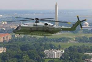 An illustration of Sikorsky's S-92 presidential helicopter