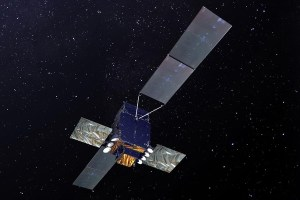 An atist's rendition of the Sicral 2 military communications satellite based on the Spacebus 4000.