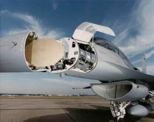 APG-68(V)9 Fire Control Radar revealed in the nose cone of a Lockheed Martin F-16 (Source: Northrop Grumman)