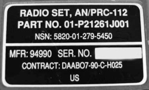AN/PRC-112 Identification Plate.