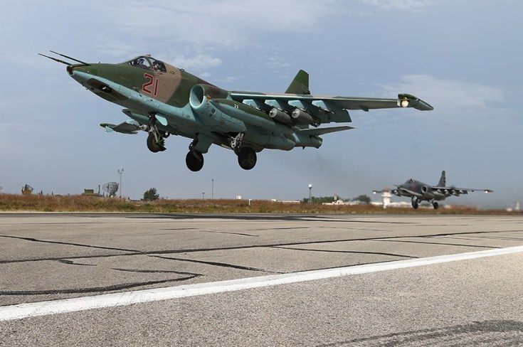 Two Russian Su-25s at Hmeymim air base in Latakia, Syria