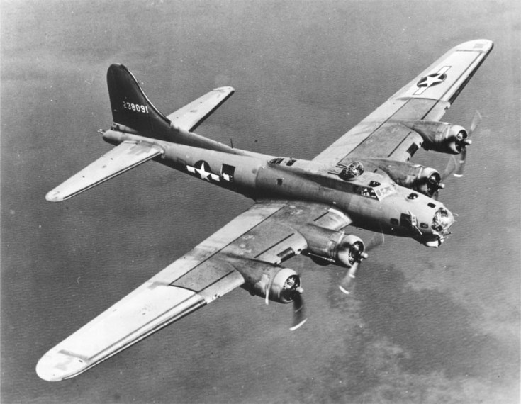 Boeing B-17 on bombing run. Source - Wikipedia
