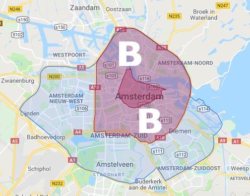 B. Binnen de Ring A10+Zuidas (lichter-roze) inclusief A