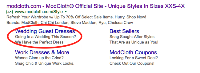 Screen Shot of Site Link Extensions. Ad Extensions are known to improve click-through rate.
