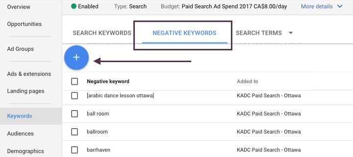 Screen Shot of Negative Keywords