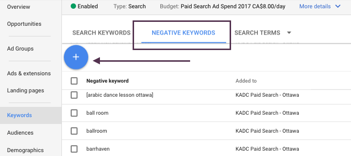 Screen Shot of Negative Keywords