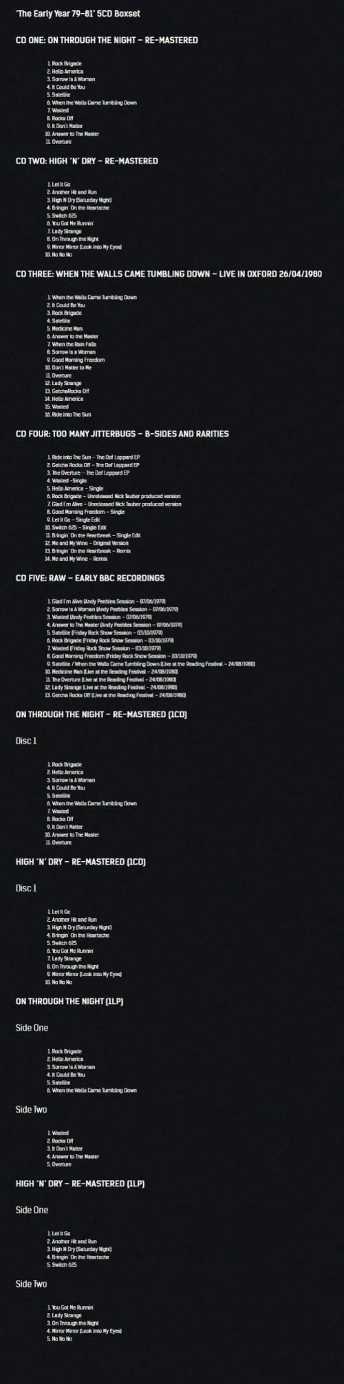 Def Leppard Early Years box set tracklisting