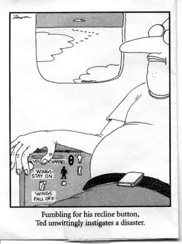 Far Side comic: wings stay on / wings fall off