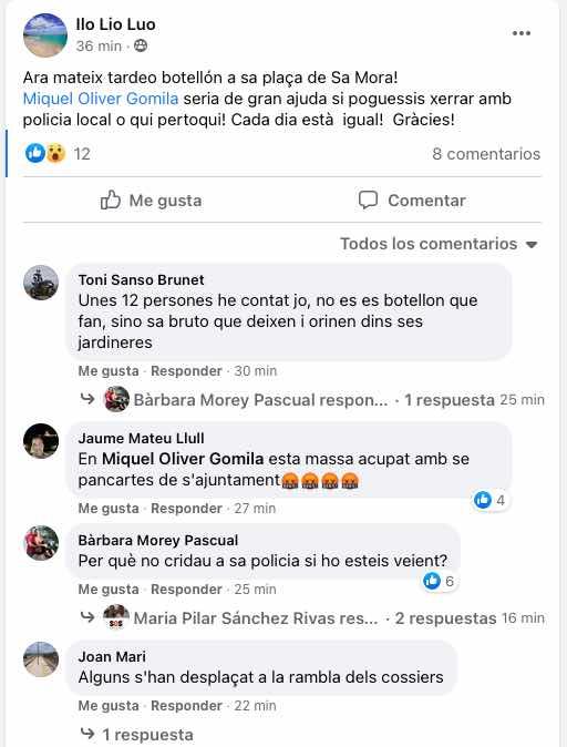 Usuaris denuncien en les xarxes un 'tardeo' en plena plaça Sa Mora de Manacor